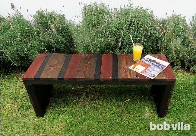 DIY Outdoor Bench   Backyard View