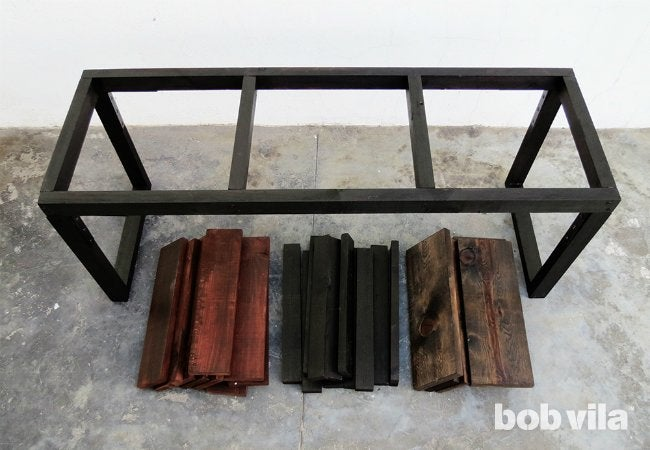 DIY Outdoor Bench - Stained Parts