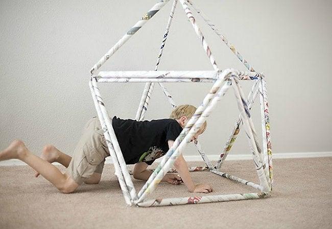 Newspaper Crafts - DIY Fort