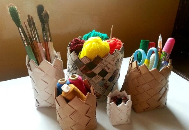 Newspaper Crafts - DIY Paper Baskets