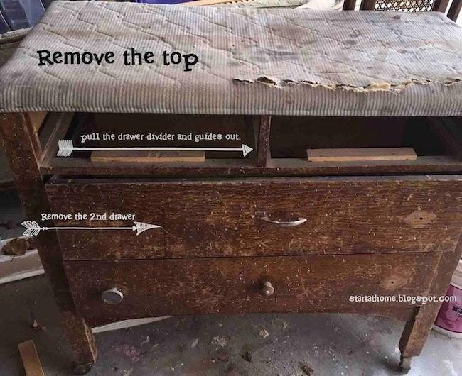 DIY Dresser Bench - Step 1