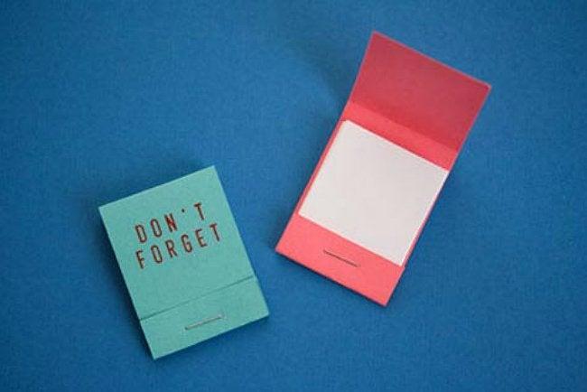 DIY Matchbook Notebook - Don't Forget