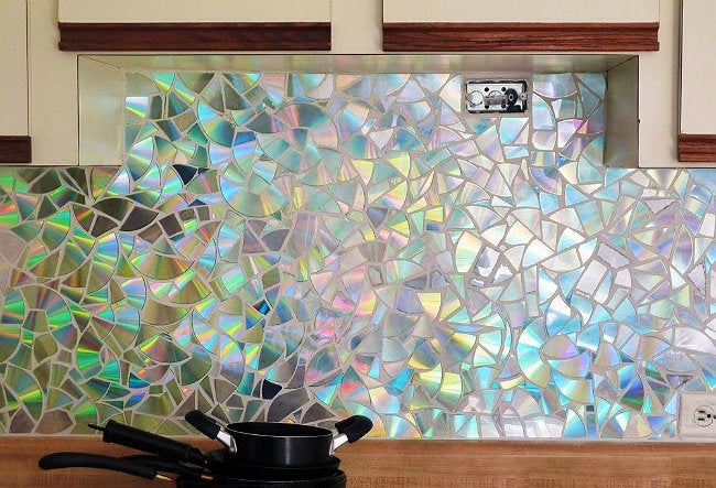 Cheap Backsplash with Old CDs