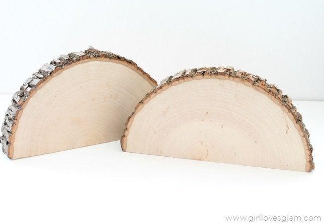 wood slice shelf step 1