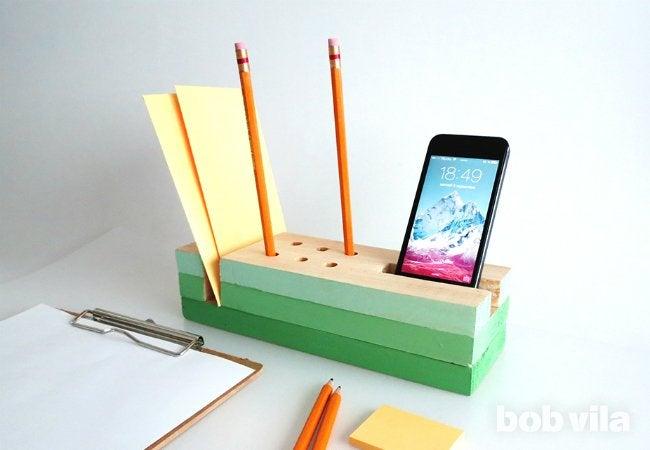 Diy Desk Organizer For Paper Pencils And Phones