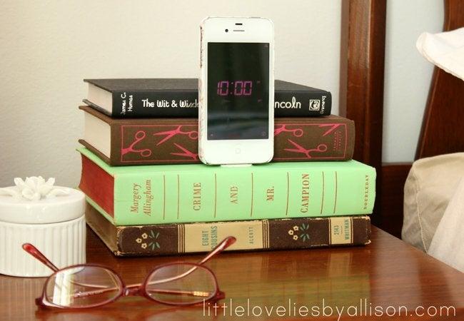 diy charging station - repurposed books