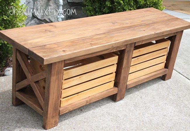 Diy Storage Bench Wooden Seat