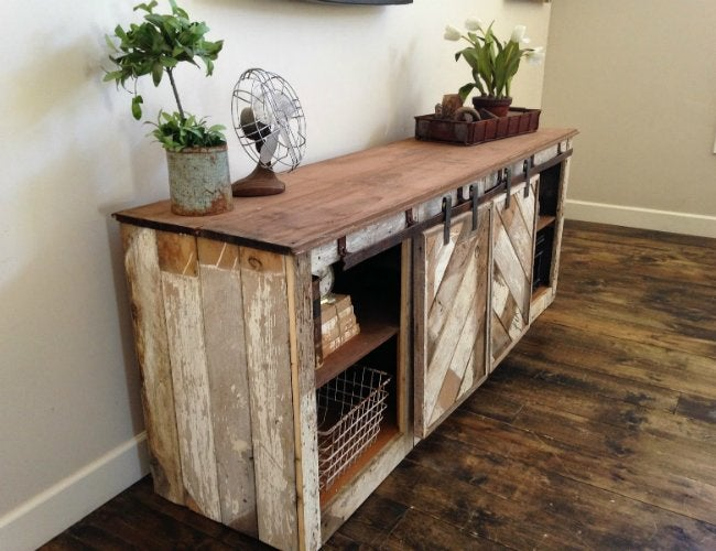 DIY Console Table - Unit with Sliding Doors