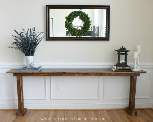 DIY Console Table - Narrow Wood Table