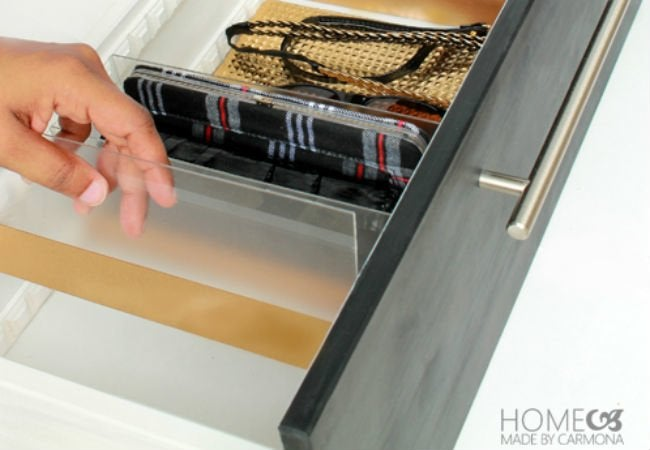 DIY Drawer Dividers - acrylic gold
