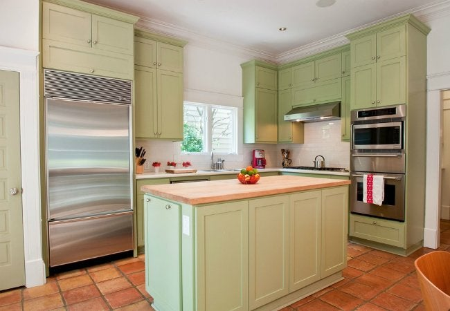 Painting Laminate Cabinets Green Kitchen