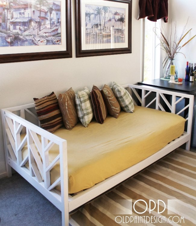 Diy daybed 5 ways to make your own bob vila for Make your own bed frame ideas