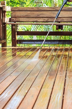Deck Maintenance - Power Washing Wooden Deck