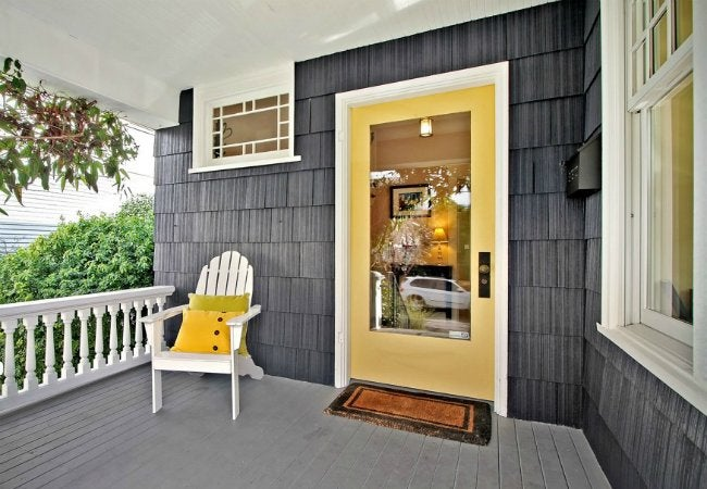 How To Paint A Metal Door   Steel Entry Door Colored Yellow