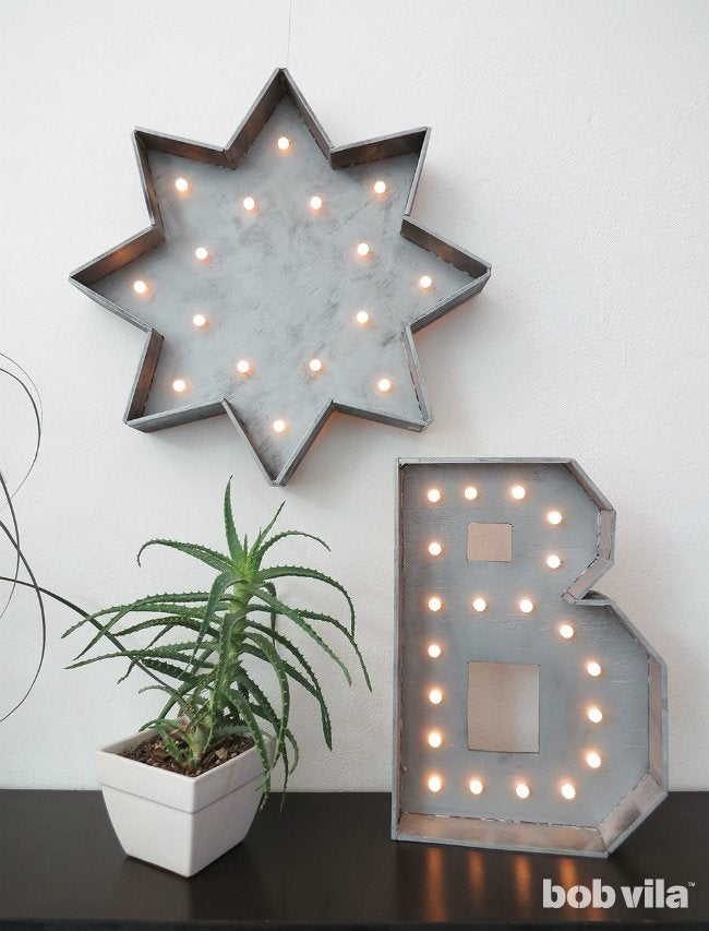 DIY Marquee Letter - Make a Faux Metal Light with Wood
