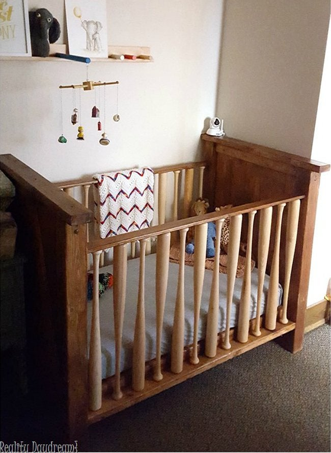 DIY Crib - Baseball Bat Crib from Reality Daydream