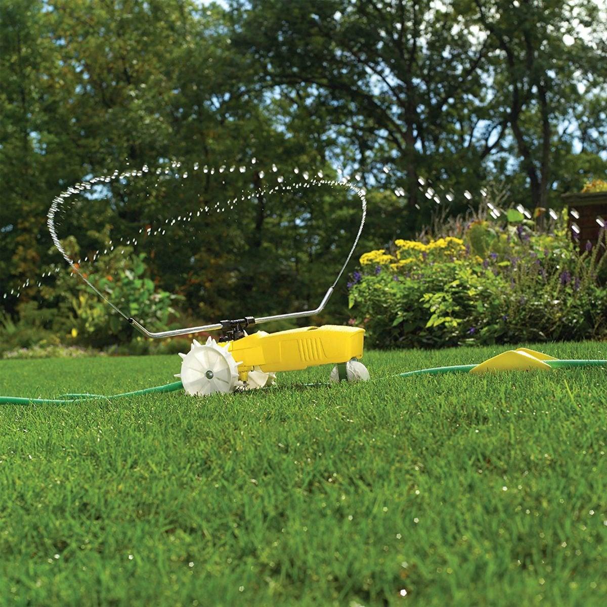 Best Traveling Lawn Sprinkler: Nelson RainTrain Traveling Sprinkler