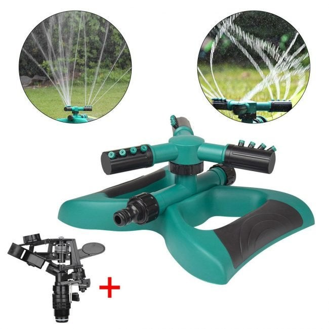 Best Lawn Sprinkler for Customizable Coverage: TZCER Dual-Head Rotating Sprinkler