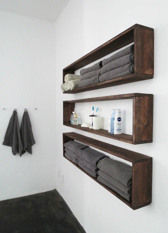 Diy wall shelves in the bathroom tutorial bob vila for How to make wall shelves easy