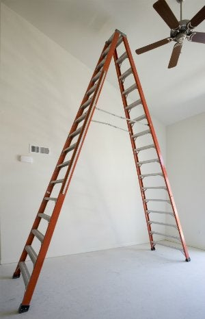 How to balance a ceiling fan bob vila how to balance a ceiling fan with a ladder mozeypictures