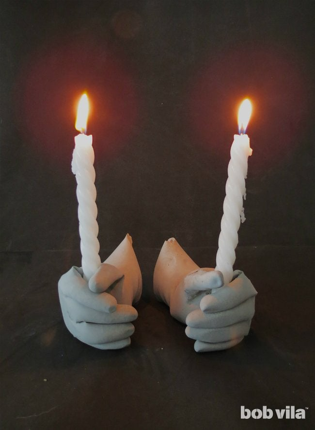 Concrete Candle Holders - Easy Halloween Decorations