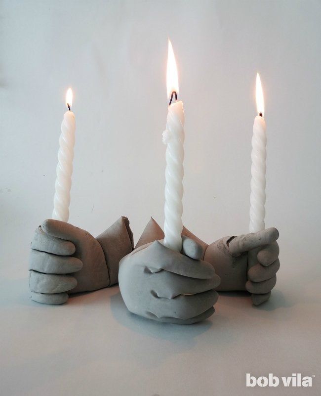 Concrete Candle Holders with Taper Candles