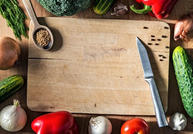 cutting board with food rustic how to clean wooden cutting board bob vila
