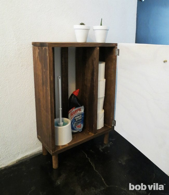 DIY Bathroom Storage Cabinet For Hiding Cleaning Supplies
