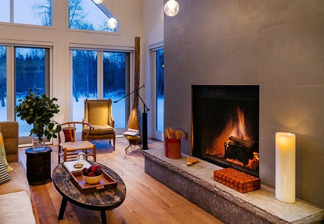 Fireplace Refacing with Concrete