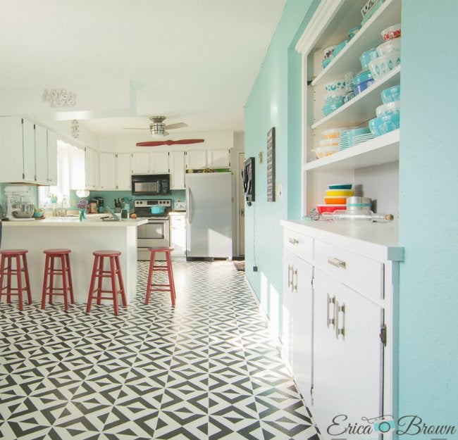 painting tile floors with a stencil - White Tile Floors In Kitchen