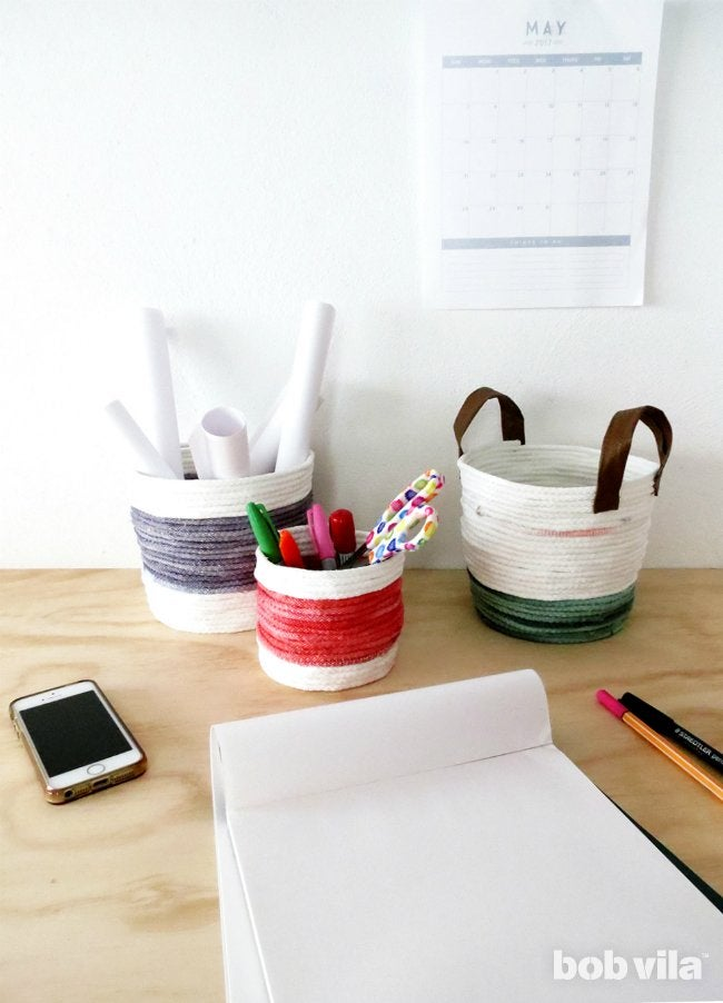 Rope Basket Collection as Desk Organization