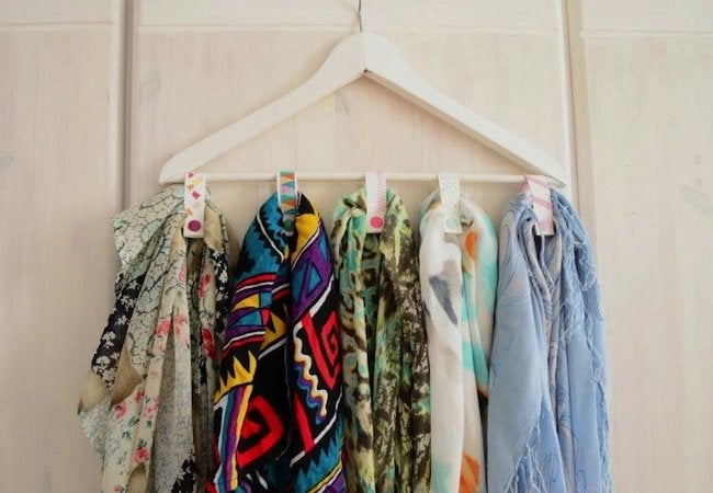 Small Closet Ideas - Hanger Hack for Scarves and Ties