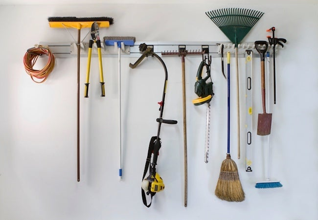 How to Organize a Garage - Garden Tools Garage Rack