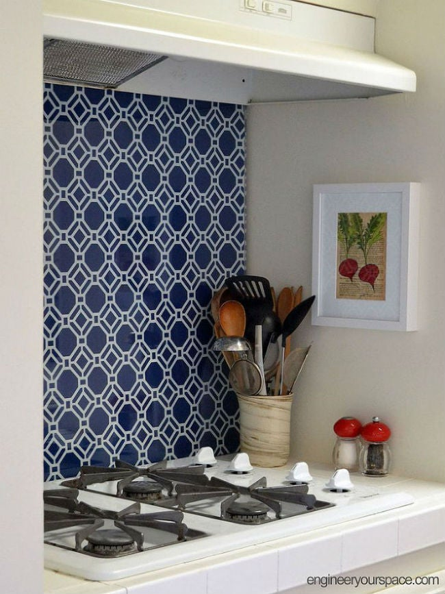 DIY a Removable Backsplash with Fabric