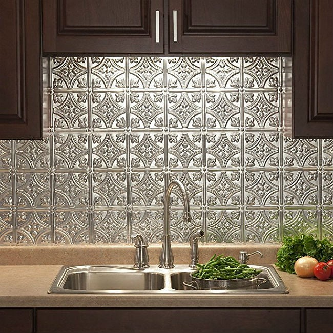 DIY a Small Removable Backsplash with Real Brushed Aluminum
