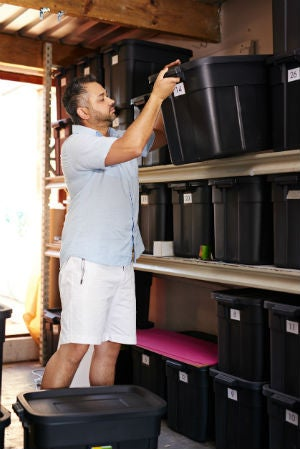 Garage Storage Ideas - Plastic Bins and Shelves