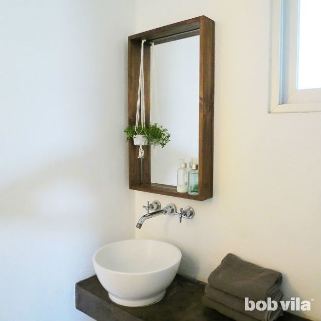 How To Frame A Bathroom Mirror With A Ledge Bob Vila