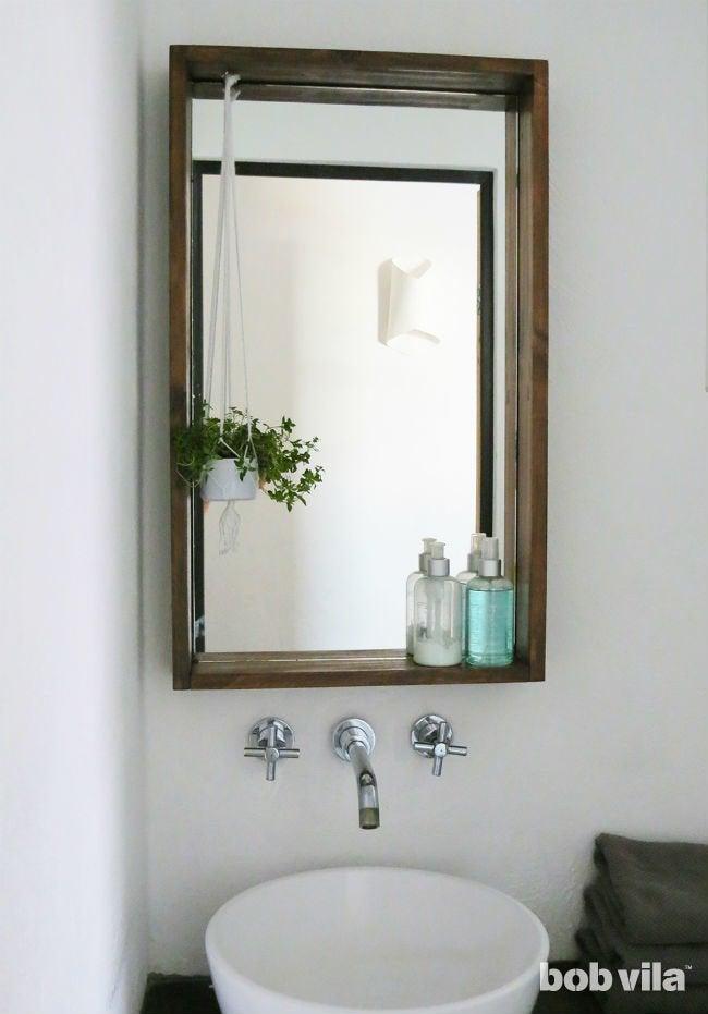 How To Frame A Bathroom Mirror With A Ledge Bob Vila