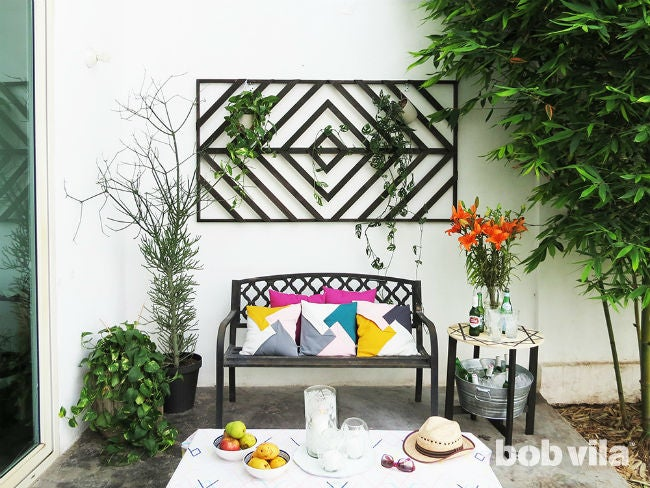 How to Make a Wall Trellis + Makeover Your Patio