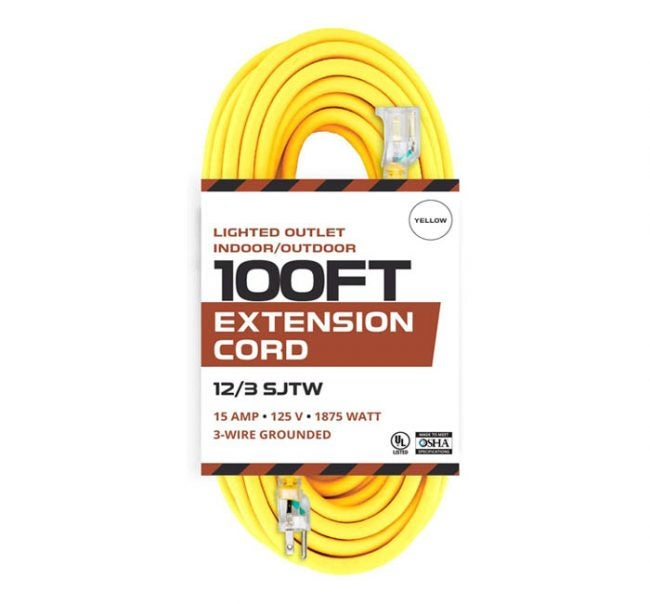 The Best Extension Cord Option:Iron Forge Cable Lighted Outlet Indoor/Outdoor 100-Foot Extension Cord 12/3 SJTW