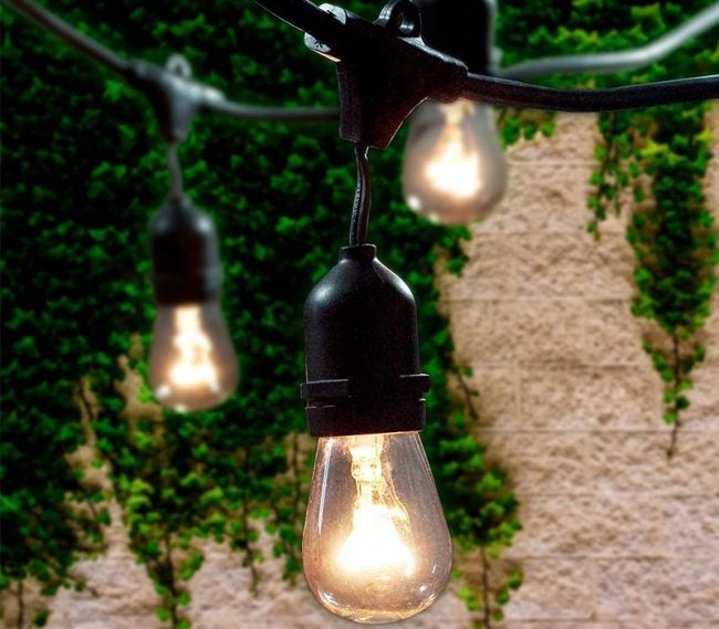 The Best String Lights Option: Lemontec 48-Foot Outdoor String Lights with 15 Hanging Sockets
