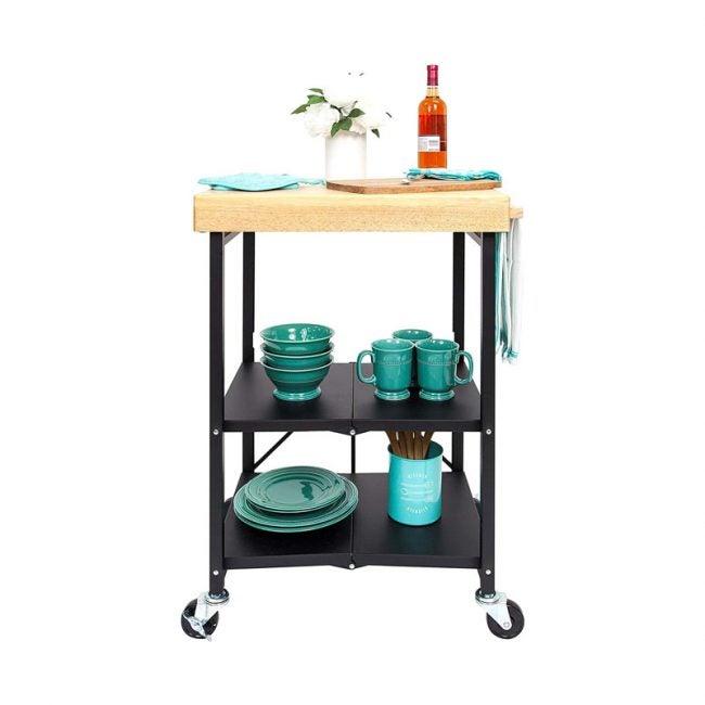 The Best Kitchen Cart Option: Origami Foldable Kitchen Island Bar Cart
