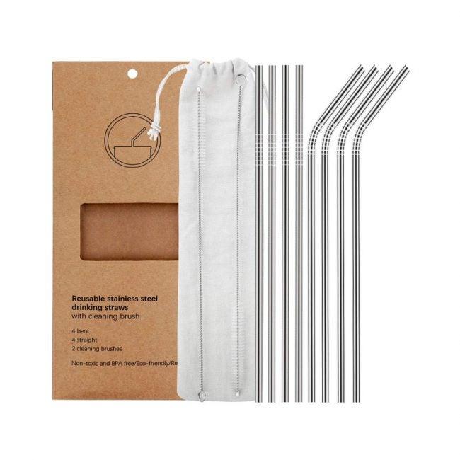 The Best Reusable Straws Option: YIHONG Set of 8 Reusable Straws