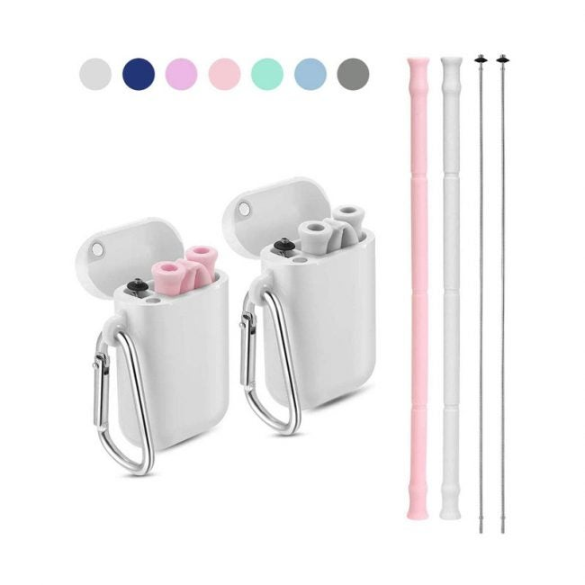The Best Reusable Straws Option: Yoocaa Reusable Silicone Collapsible Straws