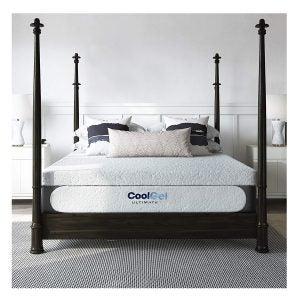 亚马逊最佳床垫选择:经典品牌酷1.0终极凝胶记忆泡沫14英寸奖金2枕头床垫,皇后,白色