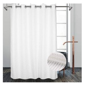 Best Shower Curtain Liners Options: River Dream Hotel Grade No Hooks Needed Shower Curtain with Snap in Liner