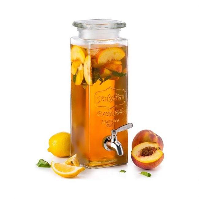 The Best Beverage Dispenser Option: KooK Tall Square Glass Mason Jar Drink Dispenser