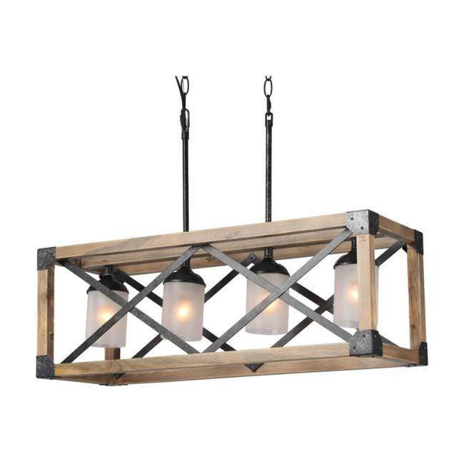 The Best Kitchen Lighting Option: Laluz Wood Kitchen Island Farmhouse Pendant