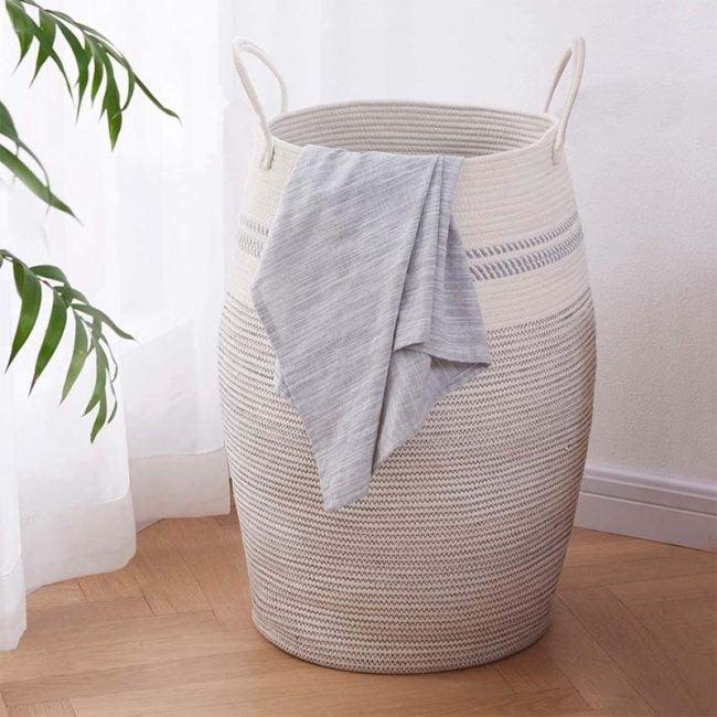 The Best Laundry Hamper Option: OIAHOMY Laundry Hamper Woven Cotton Rope Large Hamper