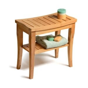 The Best Shower Chair Option: Bambusi Bamboo Shower Bench with Shelf